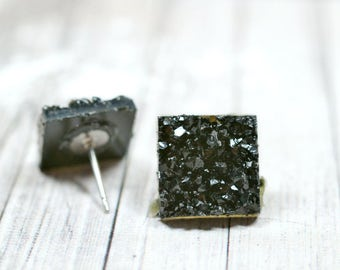 Shiny Black Druzy Earrings, 12mm Square Faux Druzy Studs Metallic Glitter Posts, Glittering Jet Black Stainless Steel