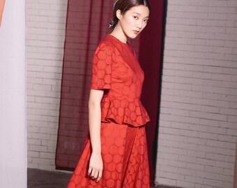 Maarimaia Peplum Waist Midi Red | A Line Dress | Summer Dress | Flare Dress | Lantern Sleeve | Lace Dress | Broderie Anglaise Dress
