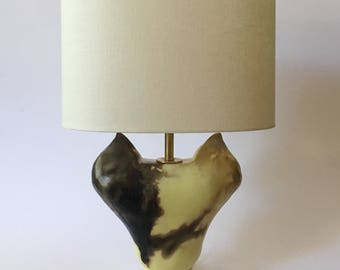 Smoke fired sculptural earthenware/ceramic/pottery table lamp and linen shade