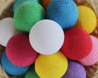 Mix Colors Handmade Cotton Ball String Lights for Bedroom Nursery Birthday Gift Wedding Party Fairy Patio Rainbow Colorful Night Light
