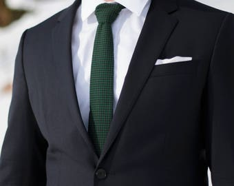 Evergreen and Black Gingham Skinny Tie