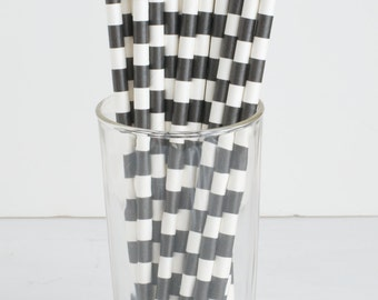 Black and White Paper Straws- Set of 25 Black and White Wide-Striped Paper Straws