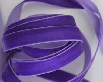 "5/8"" wide Velvet Ribbon in Purple - 5 yards"