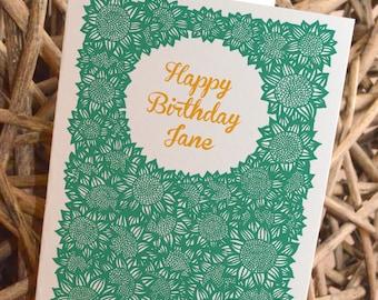 Personalised Sunflower Thank You / Birthday / Wedding / I love you / Anniversary / Flower Girl / Bridesmaid Card