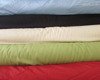 Cotton French Twill Fabric per yard, 6 color choices, Navy, Sage, Bone, Cranberry, Sky Blue, clothing, crafts, skirts, slacks, shorts
