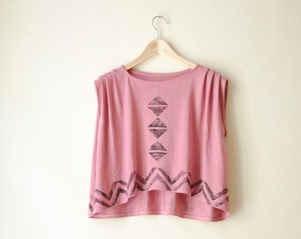 Pink Crop Top Jersey, Geometric Triangle Chevron Print, Asymmetrical Tshirt, Also available in Dark Green