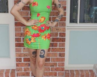 1960s Mod Flower Powder Mini Dress XS