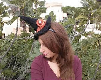 Cerchietto Cappello da strega per halloween all'uncinetto.  Crochet Witch hat