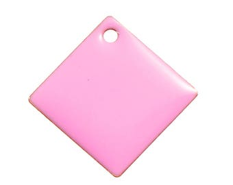 Lot 5 sequins glazed square pink 24 mm - creating jewelry.