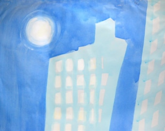 City Skyscrapers at Night Original Painting Wall Mural on Canvas by Chantee B