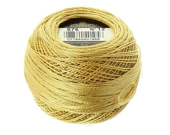 DMC 676 Light Old Gold Perle / Pearl Cotton Thread Size 12
