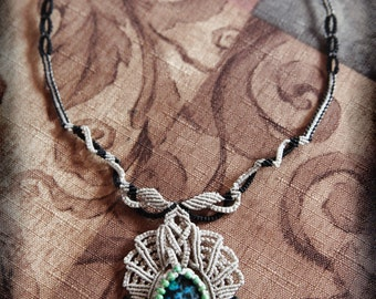 Natural Stone Macrame Necklace ~ Macrame Cabochon ~ A Peacocks Tear ~ Blue, Green, Grey, Black
