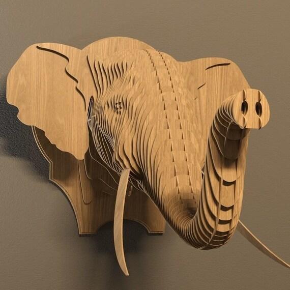 Elephant Head Plan Vector Filecnc Decorationdecorative
