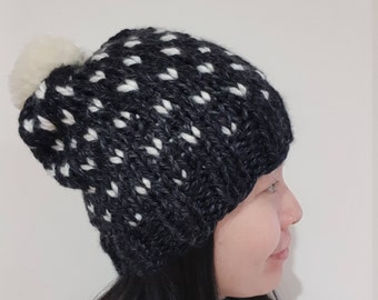 READY TO SHIP-Chunky Pom Pom Hat in Charcoal black and white - Fair isle knit hat - Slouchy Pom Pom beanie - Winter Hat - Bobble