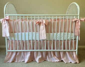 Pink Crib Bedding in natural linen, Baby Girl Bedding - Ruffled Baby Bedding set with long sash ties
