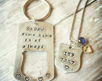 Police Wife Necklace- Police officer gift- Police Wife Gift- LEO Support Gift- Thin Blue Line- We Love Our Police Officer- Blue Lives