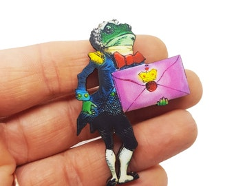 Alice in Wonderland Frog Footman Through The Looking Glass Lewis Carroll John Tenniel Brooch Pin Badge Jewellery Gift For Her