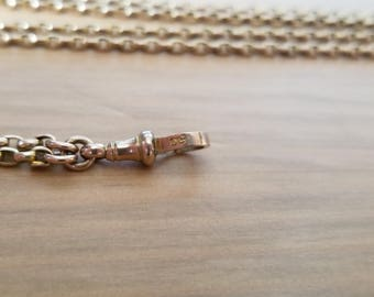 Antique Long Guard Chain, Watch Chain, Muff Chain, Belcher Chain, 9k 9ct solid Gold with Dog Clip, 58 Inches