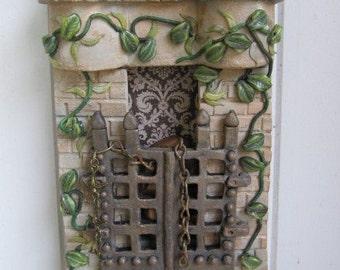 Ceramic Shrine Assemblage Handsculpted Clay Sculpture Shadowbox