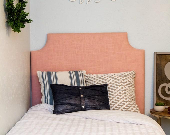 Tall Dorm Twin Headboard, Blush Pink Linen, Dorm Headboard, No Nails Headboard