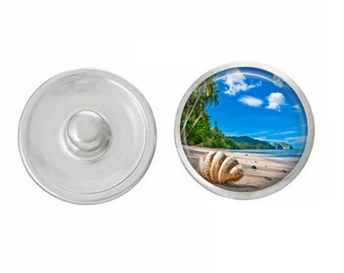 Palm Tree Sunset Beach Snap - Compatible with Studio66 LLC -  Gingersnaps - Magnolia and Vine - Noosa 18-20mm Base - Handpressed Snaps
