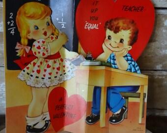 Vintage Valentine Teacher Card Boy and girl Sweet 1950's or Earlier Retro