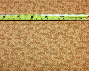 Bernartex GOLD CAT NAP Scroll 100% Cotton Fabric for Quilting - sold by 1/2 yard