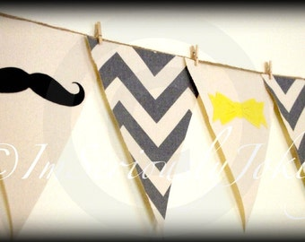 Gender Reveal Banner-Beau or Bow Chevron Party Banner-Party- baby shower-Little Man Party-Mustache party-Baby shower banner-boy or girl
