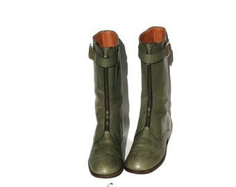 size 9 moss green Italian leather boots