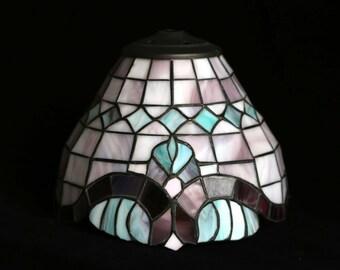 Small vintage Leadlight lampshade-purple & green