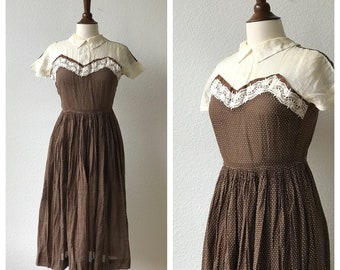 Vintage brown polka dog collared 40s dress AS IS sz S