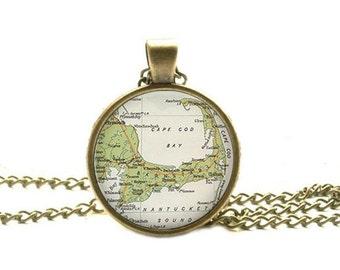 Cape Cod map pendant, Cape Cod pendant, resin pendant, Cape Cod necklace map jewelry