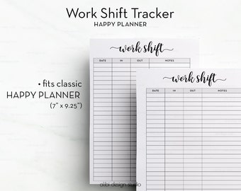 Work Shift, Happy Planner, Work Planner, Printable Planner, Weekly Planner, MAMBI, Work Schedule, Daily Planner, Work Printable, Work