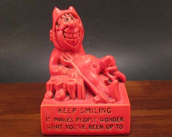 Vintage 1966 PAULA Figurine, Red Devil Mini Sculpture, Keep Smiling W-40, Halloween Kitsch