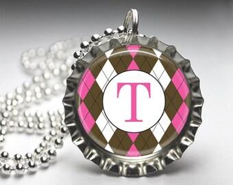 Custom Initital Monogram Personalized Pendant, Argyle Print, Personalized Bottlecap Necklace, Bottlecap Pendant Jewelry, Free Ball Chain
