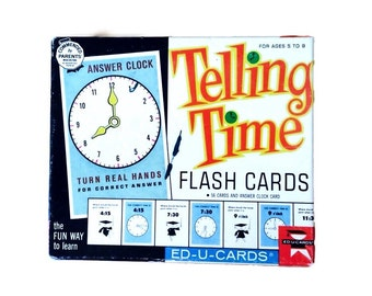 1963 Telling Time Flash Cards, Answer Clock Card