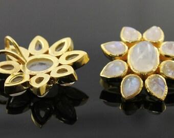 Natural Moonstone Fancy Flower Pendant , 24K Gold Vermeil Over Sterling Silver,  24mm,1 Piece, (BZC9006-C)