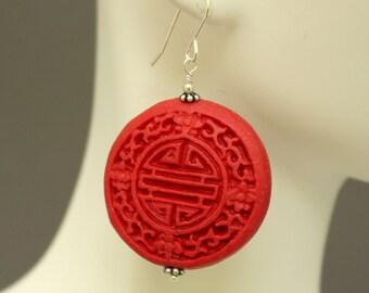 Red Cinnabar Disc & Silver Earrings J04