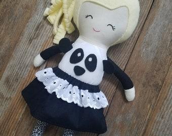 Panda doll, Cloth doll, Fabric doll, Handmade doll, Rag doll, Girls toy, Custom doll, Personalized doll, Heirloom doll, Lookalike doll