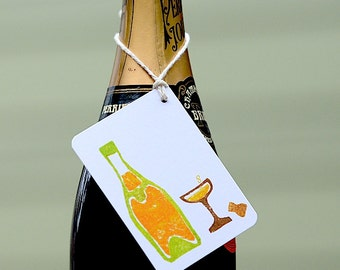 6 Champagne Gift Tags- Mini Handmade Bottle Gift Tags