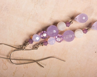 Purple chaledony and swarovski crystal earrings on silver wire