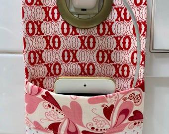 XOXO Phone pouch, Phone charging Holder, Hanging Mobile Phone Holder, Pocket Organizer