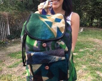 Backpack bag,Gunne sack backpack,Large,backpack, painted canvas,coffee bag,Guatemala,tan,green,blue,purple,back pack
