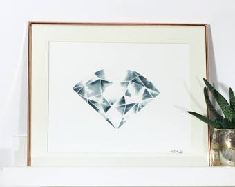 Watercolour Print Diamond
