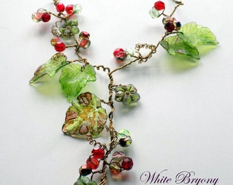 "Vine Necklace, ""White Bryony'', Vintage Style Flower Necklace, Boho Necklace, Nature Jewelry, Hand Painted, Rustic Wedding Jewelry"