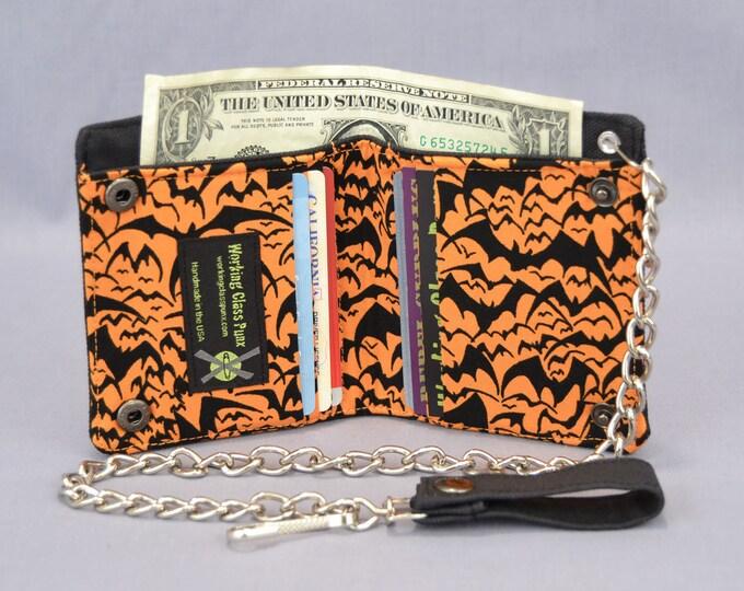 Halloween Bats Vegan Chain Wallet, Black and Orange, Fabric Pockets, Black Canvas Bi-fold, Detachable Chain