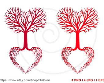 Heart wedding tree, wedding invitation, guest book, wedding gift, printable wall art, art print, commercial use, EPS, SVG, instant download