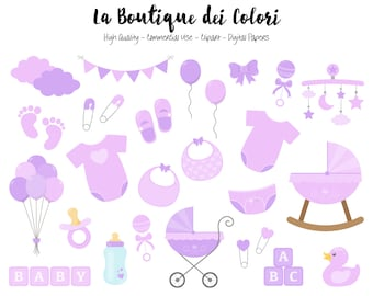 Purple Baby Girl Clipart, Cute Graphics PNG, Scrapbook Invitation baby shower, lilac nursery Clip art, Planner Stickers Commercial Use