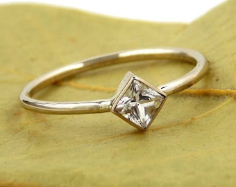 Turned Princess Cut Engagement Ring:  14K Solid Gold, White Sapphire, simple ring, gold ring, wedding ring, engagement ring, square ring