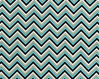 Chevron - turquoise/gray/white/black cotton fabric [[by the half yard]]